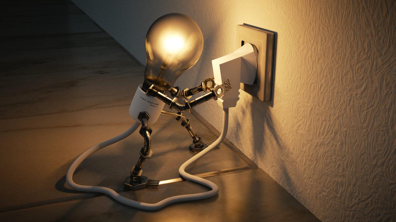 3d обои, лампа, розетка, 3д графика, 4k заставка