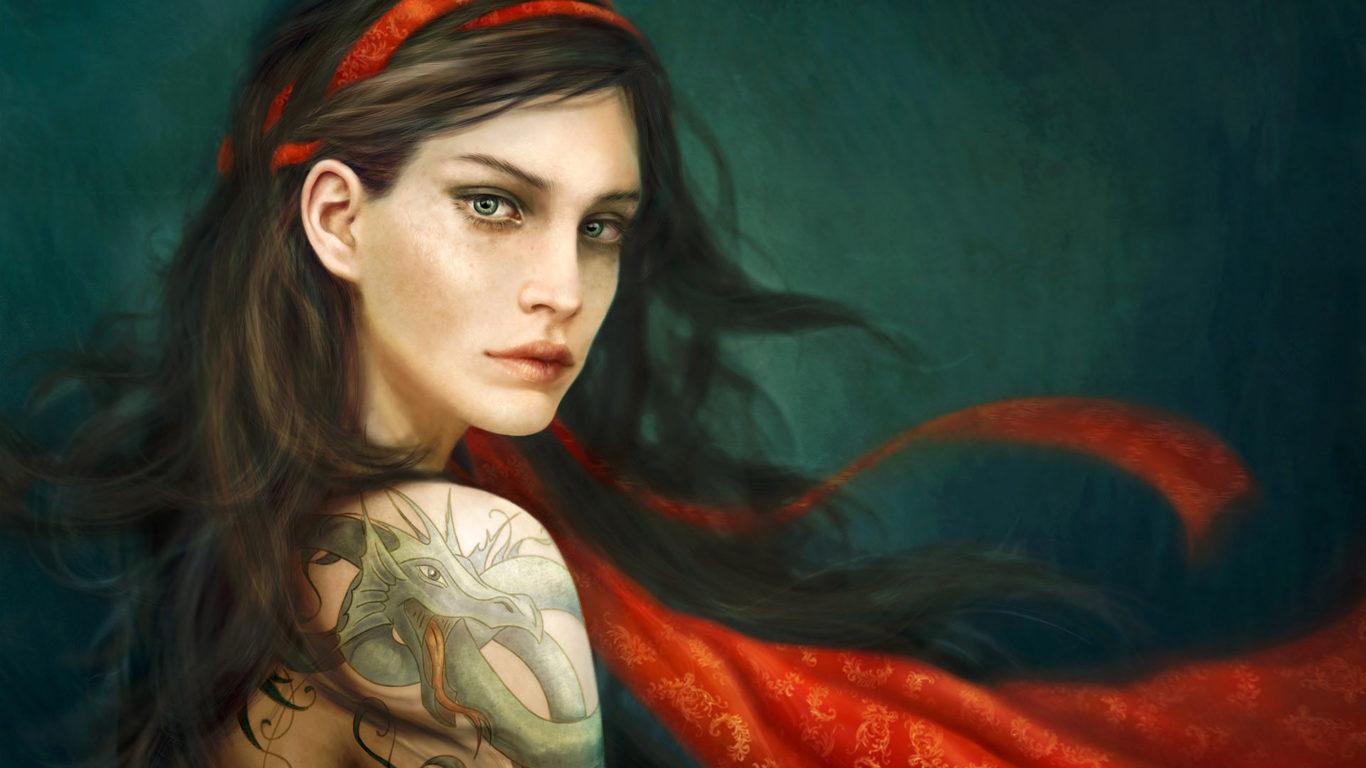 Женские татуировки, девушка с тату дракона на плече