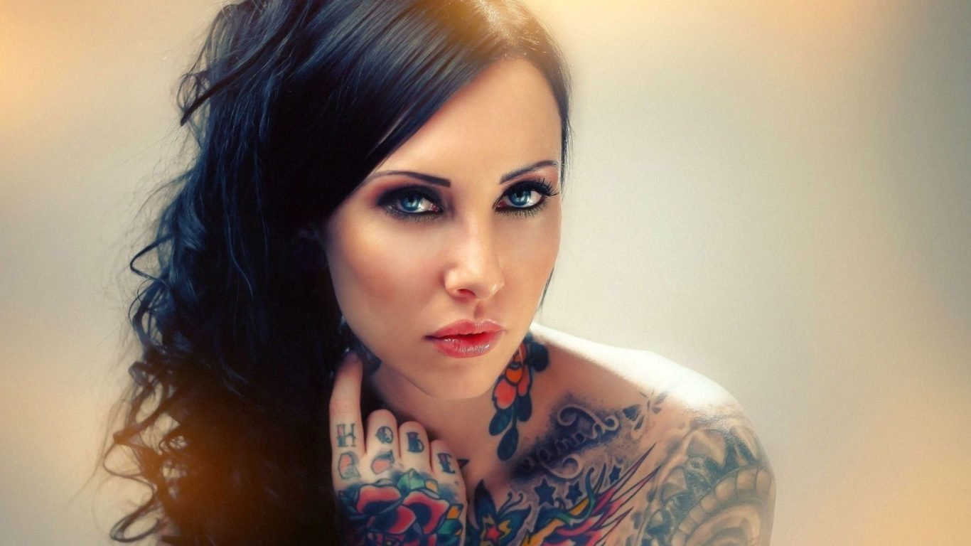 татуировки, девушка, тату на руке и плече, hd обои
