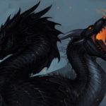 Два черных дракона в стиле фэнтези