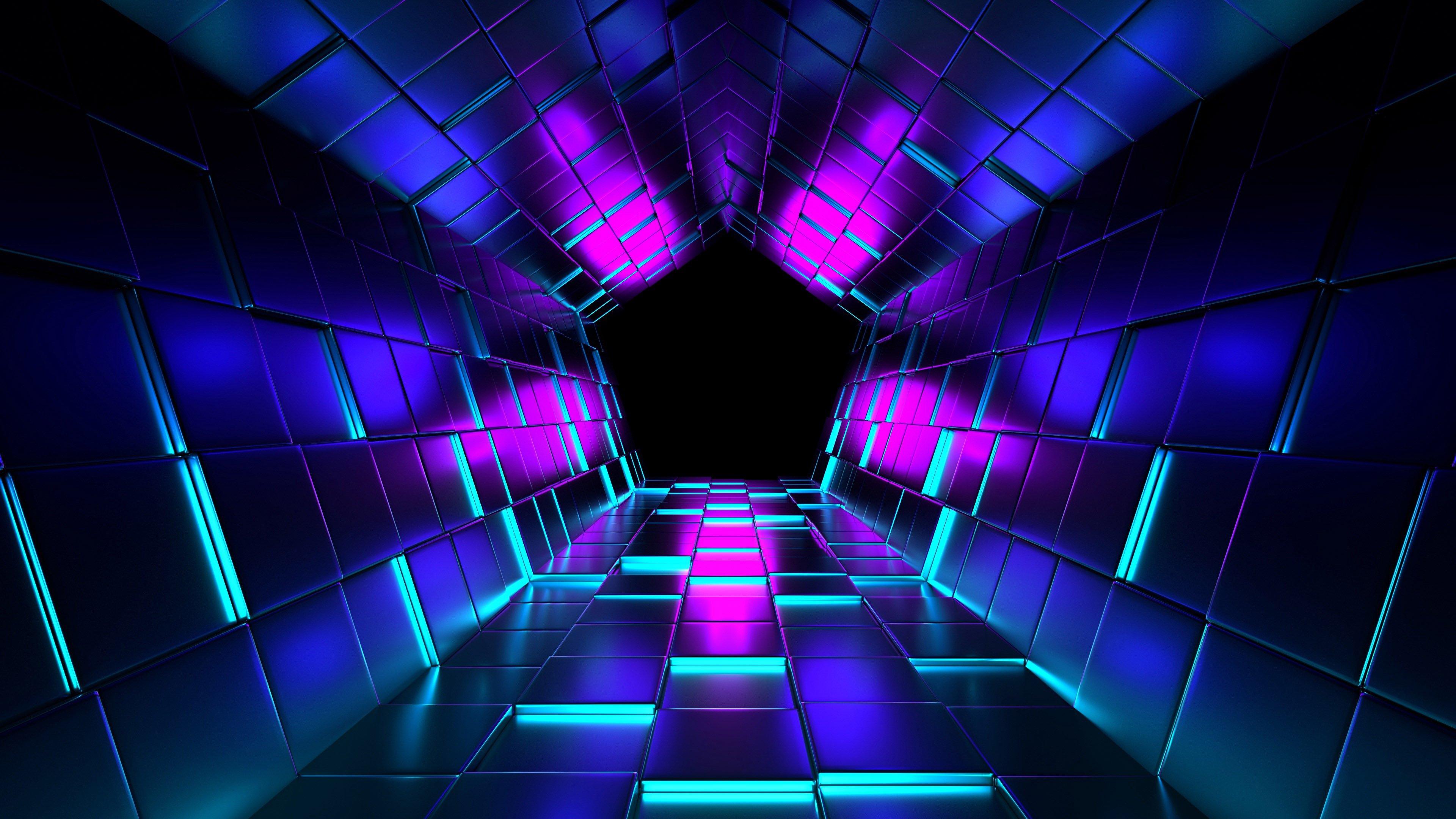 Фиолетовый туннель, 3d графика обои