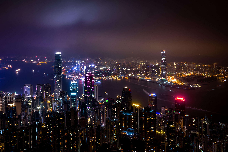 обои страны мира, Гонконг, Китай, города, ночной город, 6k заставки, China, Hong Kong