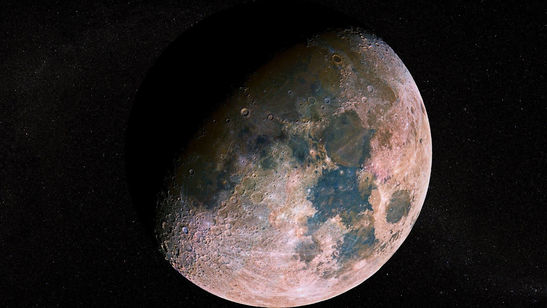 Космос, галактика - Луна в деталях