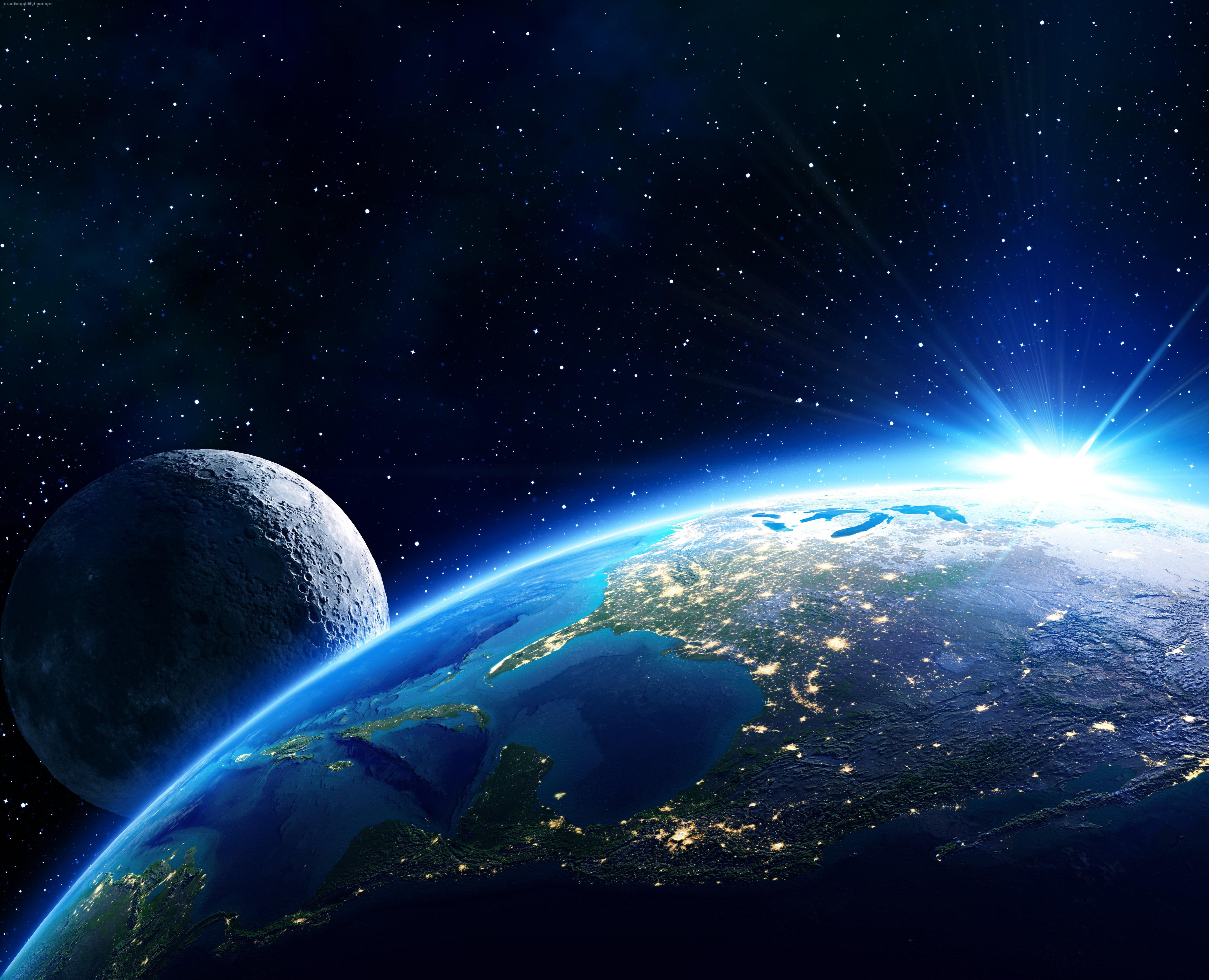 Космос, планета Земля вид из космоса, галактика, вселенная, 5k обои