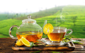 чай, лимон, заварник, поднос, чашка