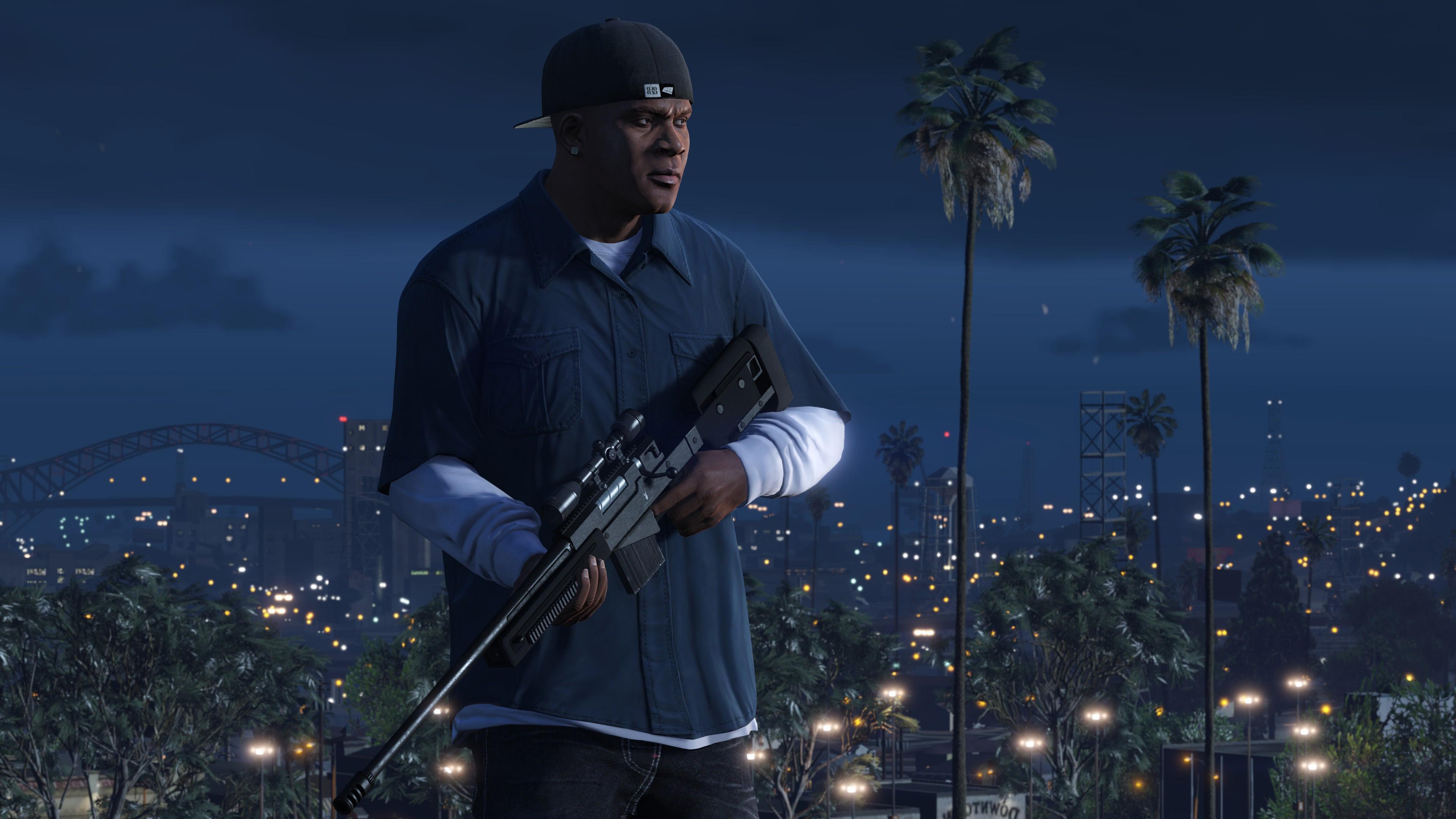 GTA V, бандит с оружием из игры Grand Theft Auto V