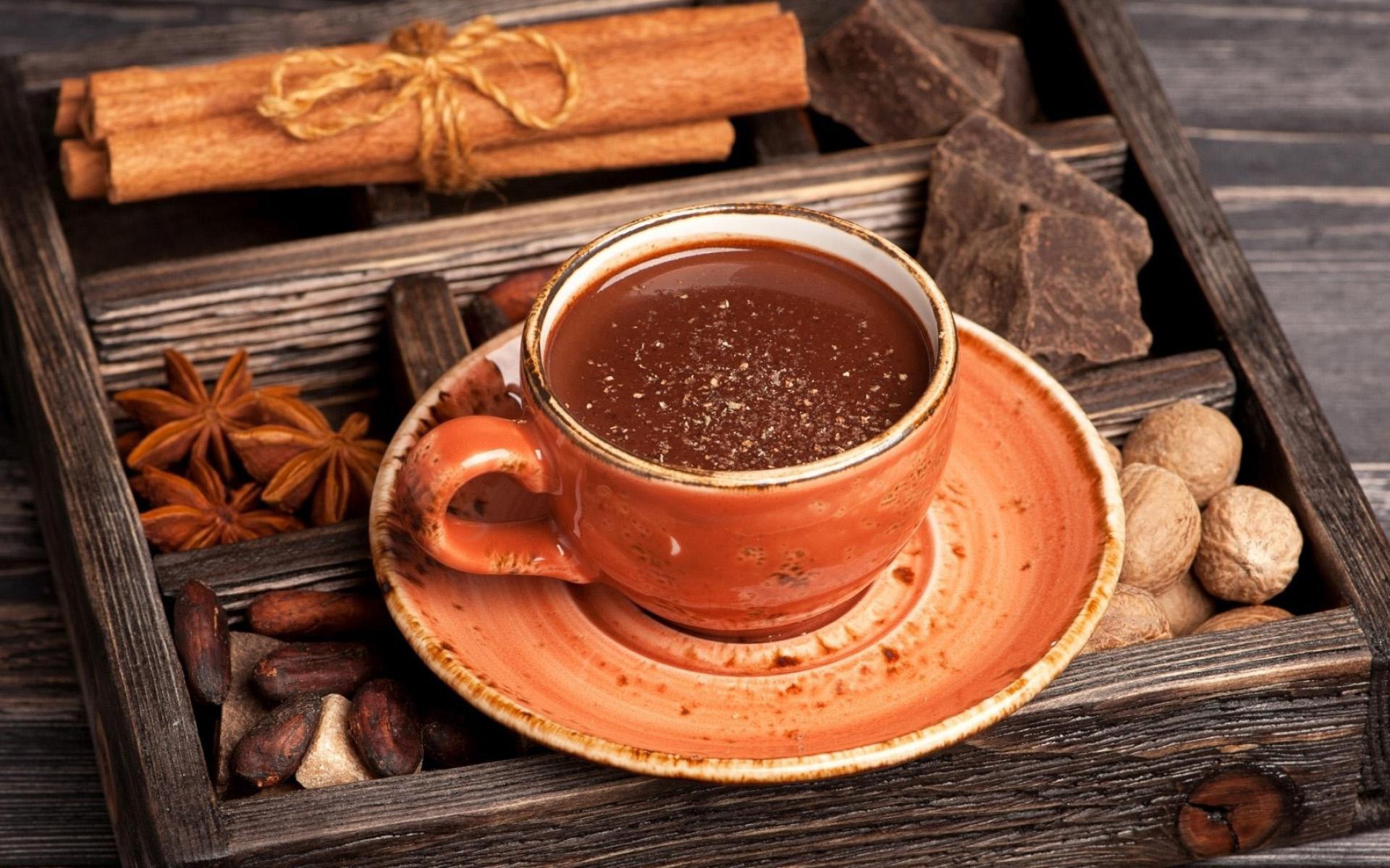 горячий шоколад, чашка, еда, напитки, пряности