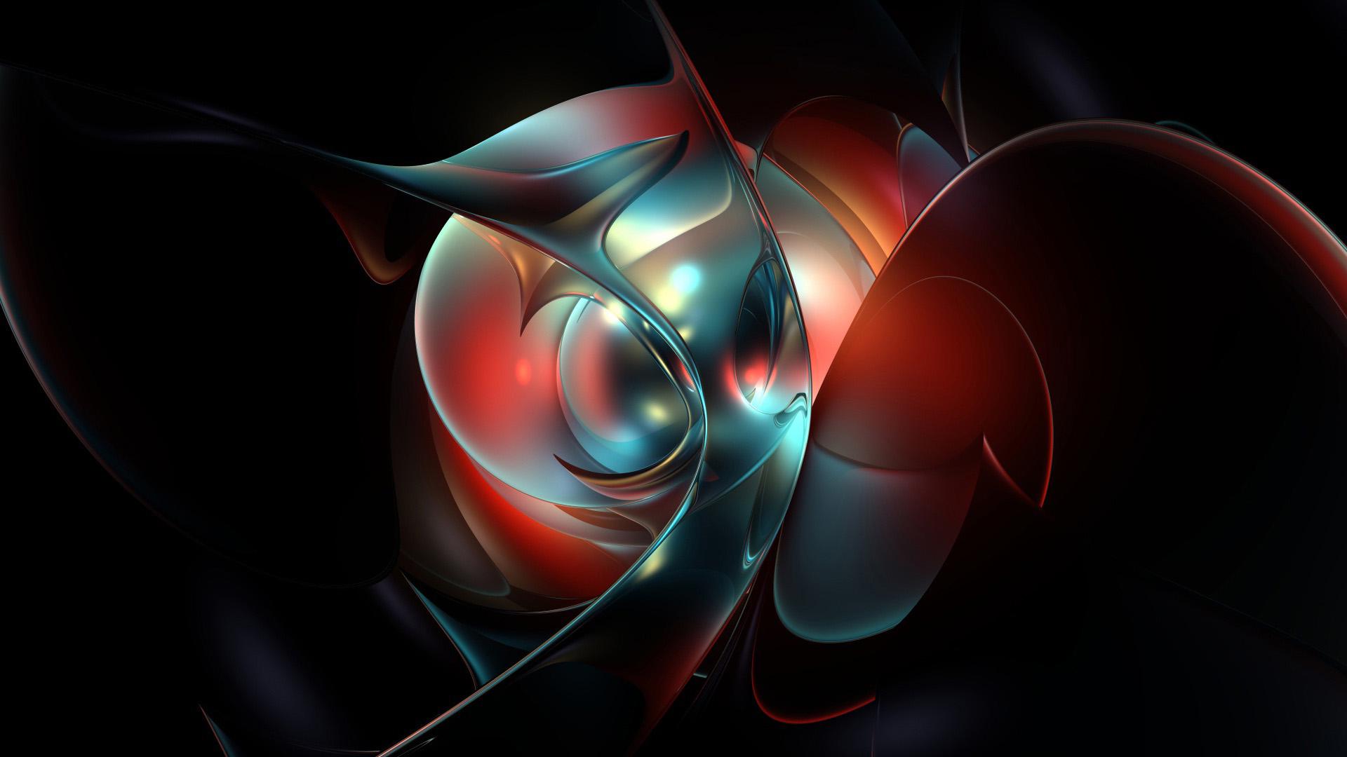 3d обои, черно-красная 3д абстракция, 3d графика