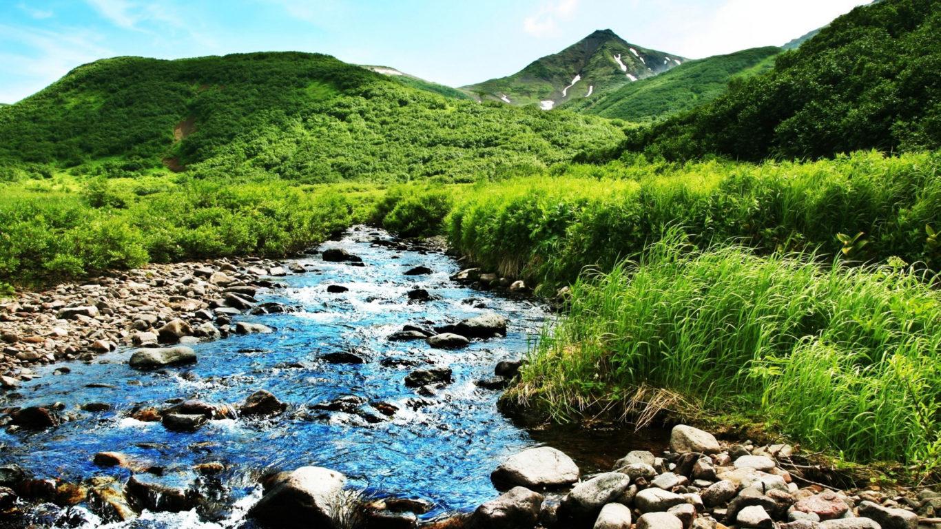 горная река обои