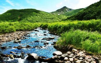 горная река, холмы, горы, небо, hd обои
