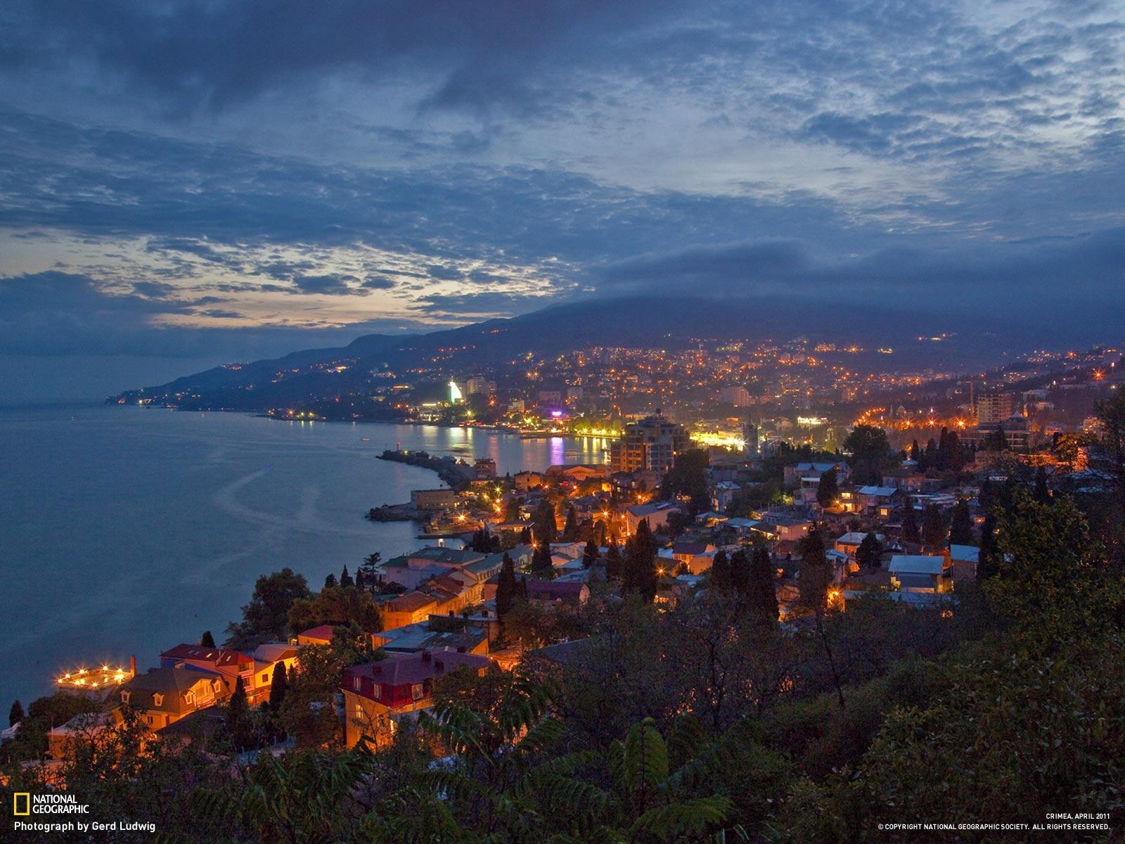 Крым, Ялта, ночной город, города, страны, Россия