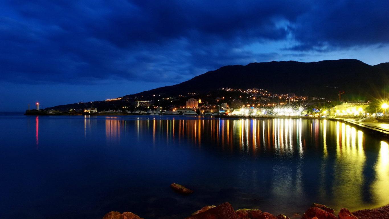 Крым, Ялта, ночной город, обои HD, города, набережная, страны мира