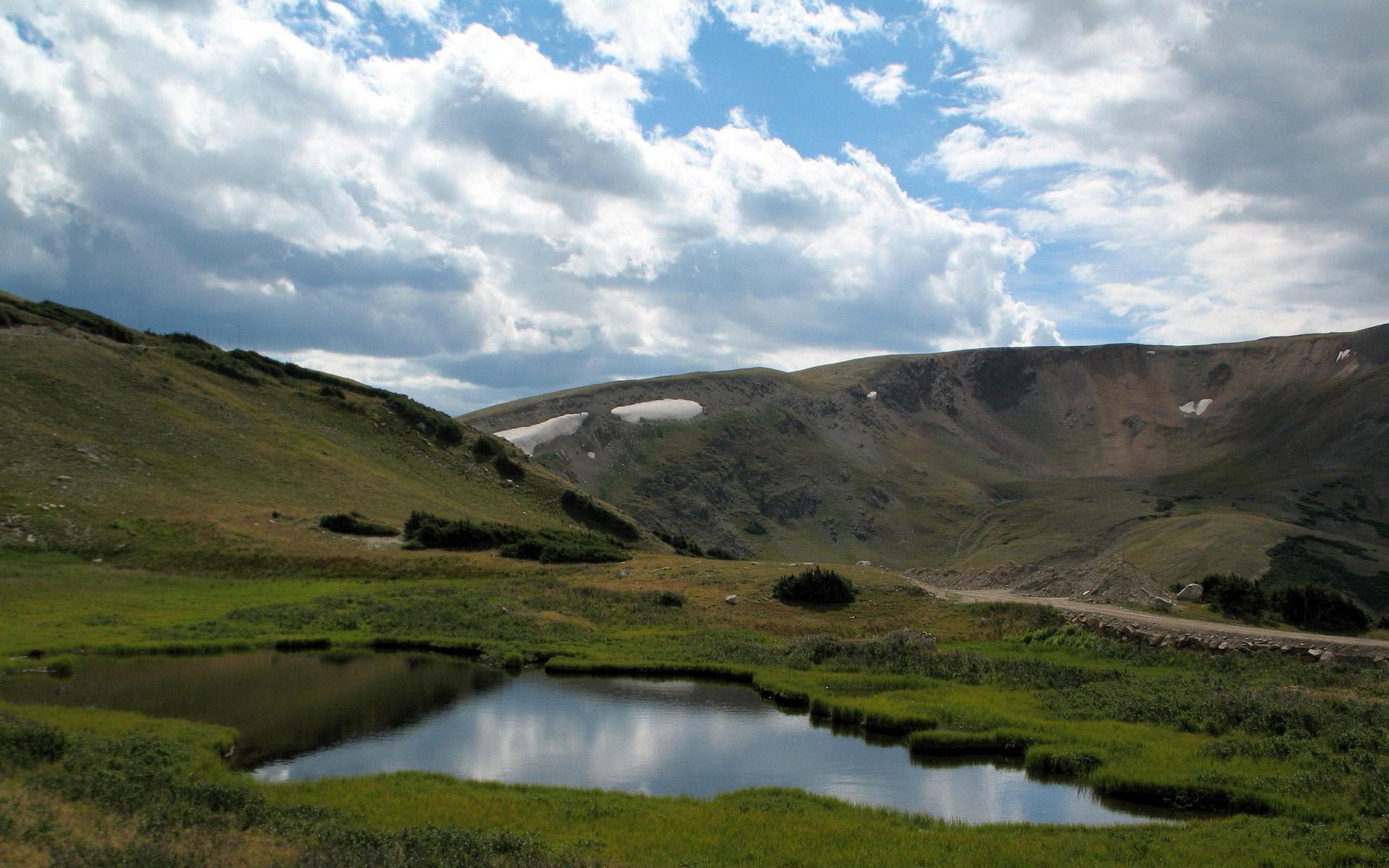 широкоэкранные обои, озеро, горы, природа hd