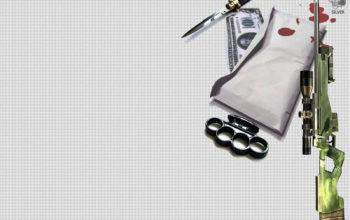 Набор киллера - снайперская винтовка, нож, кастет, деньги