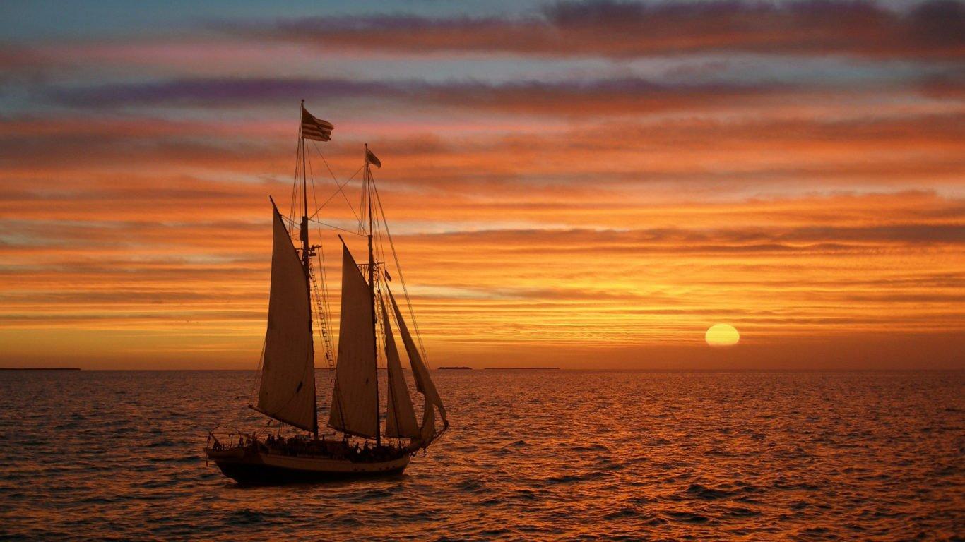 обои парусные корабли, море, закат, парусник, hd картинка