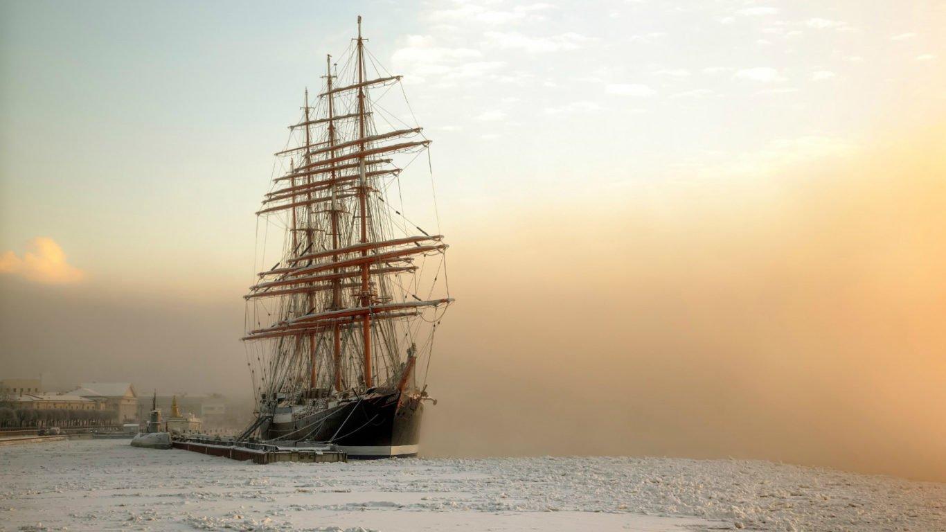корабли, море, парусный корабль, бухта, hd обои