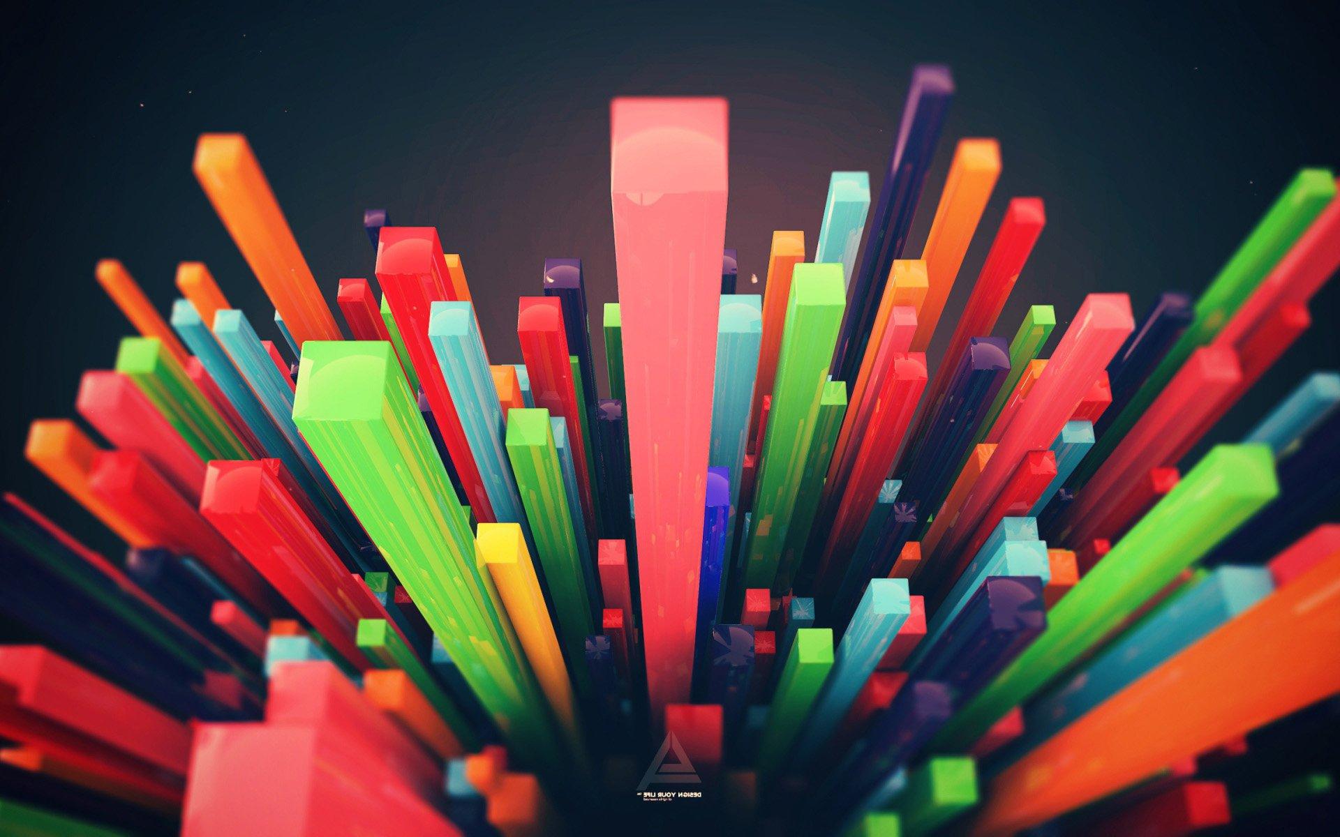 3d графика обои - Разноцветные 3Д стержни