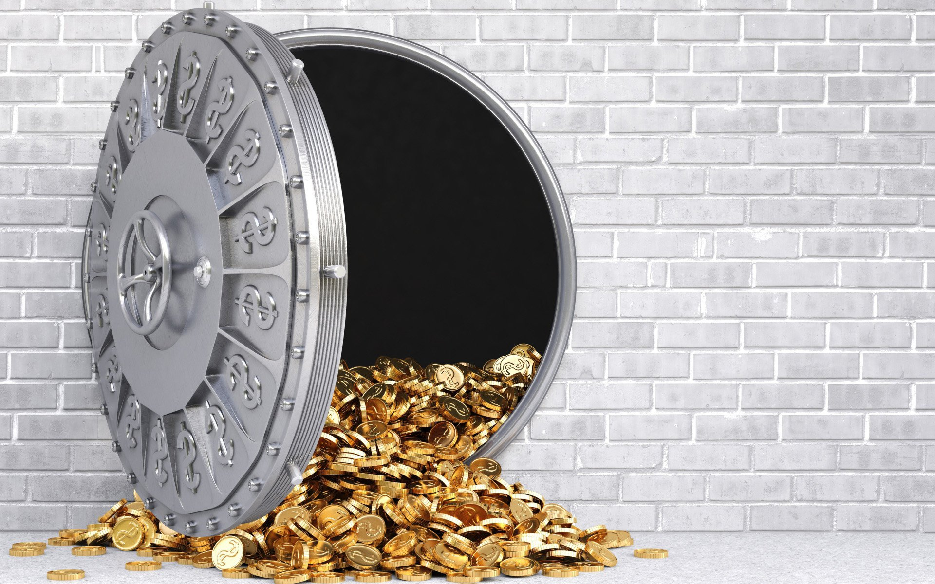 Золотые монеты в сейфе