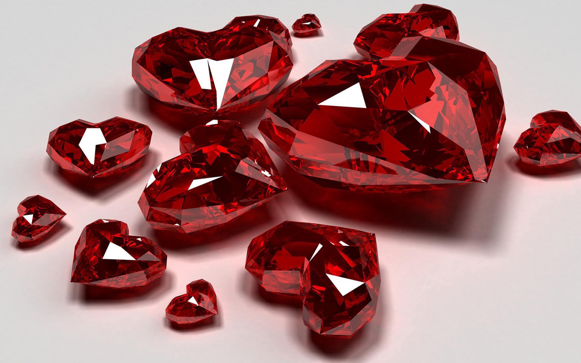 3D сердца, 3d обои, 3д графика, камни