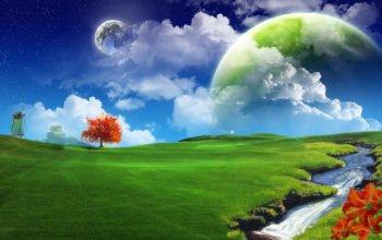 3d обои, зеленое поле, небо, hd, абстрактные