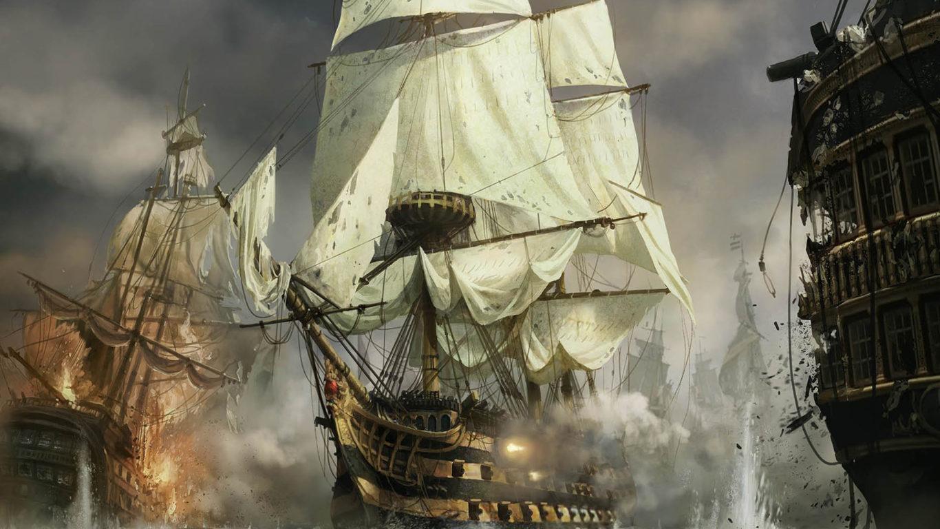 обои парусные корабли, морской бой, hd картинка