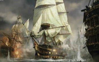обои парусные корабли, морской бой