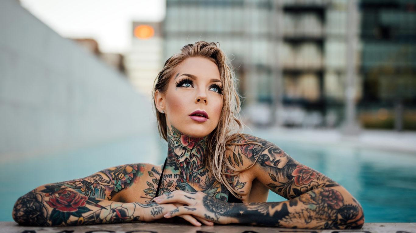 девушка, татуировки
