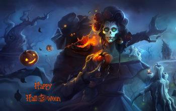 Хэллоуин, скелет, мертвец, тыква, луна, свечи