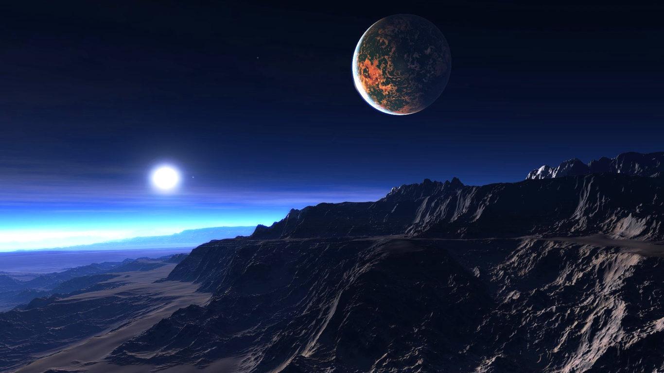 Космос, экзопланета, звезды, луна, галактика, вселенная, hd обои
