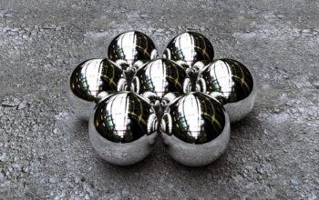 3d обои, металлические шарики в 3d