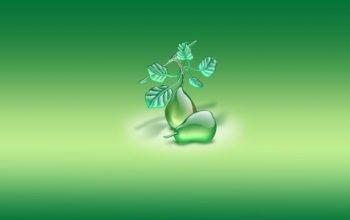 груши, 3d обои, широкоформатные, hd заставка, зеленый фон