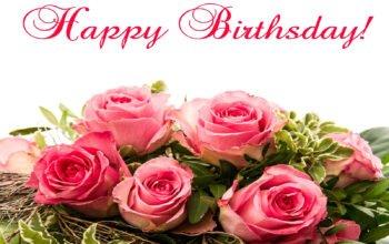 Открытка с Днем Рождения, букет, цветы, розы