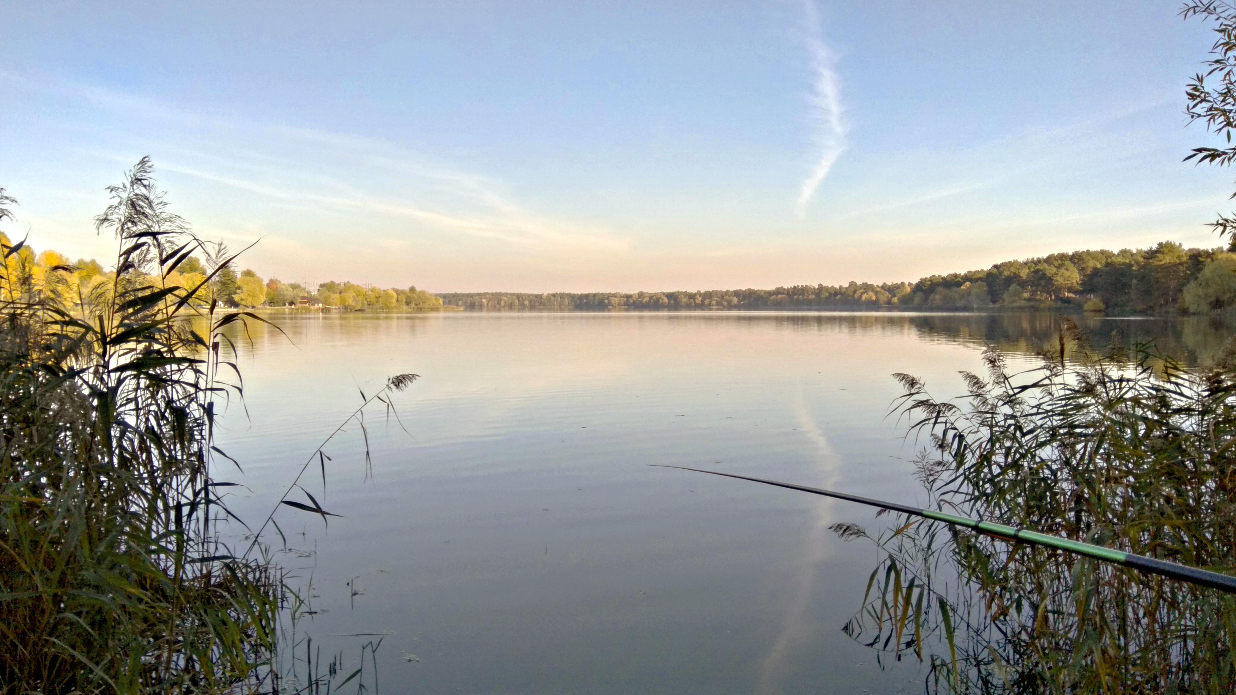 осень, природа, рыбалка, озеро, лес, 4k обои, lake