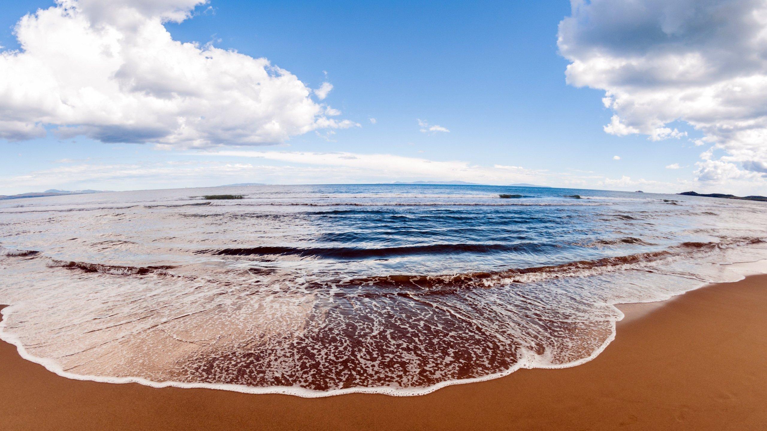 обои на рабочий стол море песок, берег, волны, природа