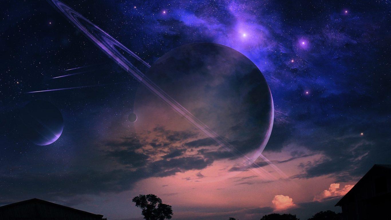 Космос, планеты, звездное небо, галактика, hd обои