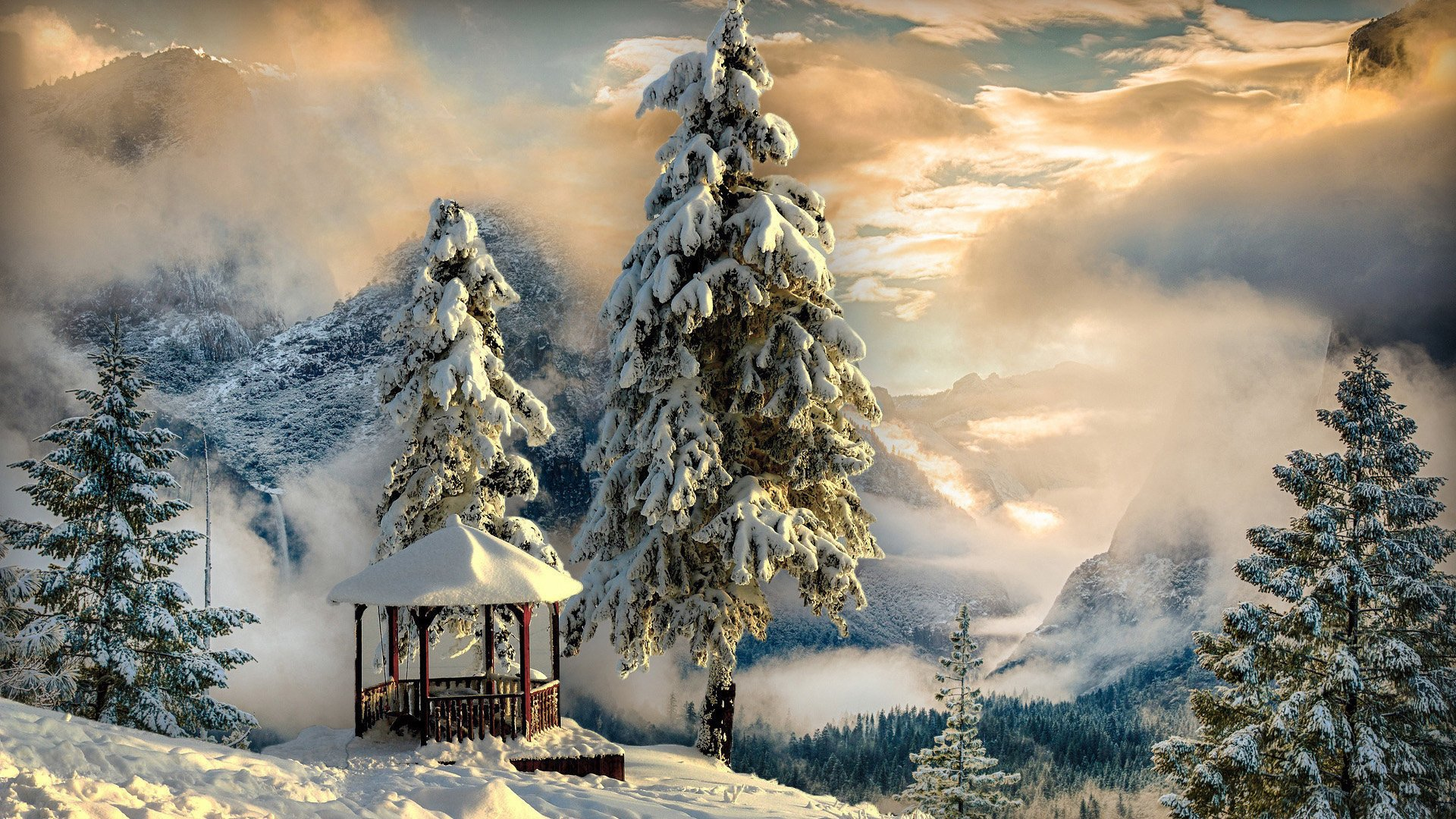 горы зима обои, туман, лес, беседка, hd