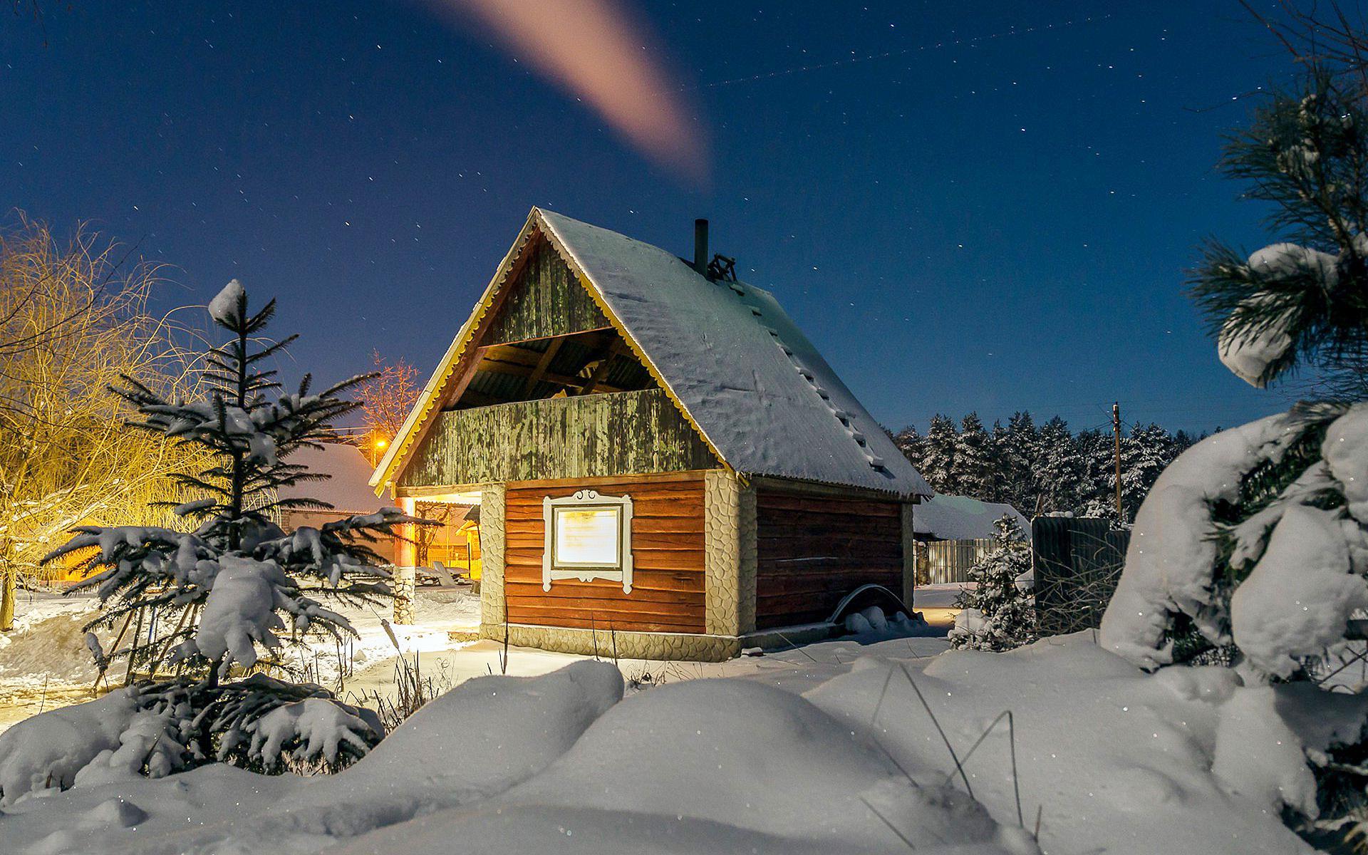 природа, зима, домик, снег, hd обои