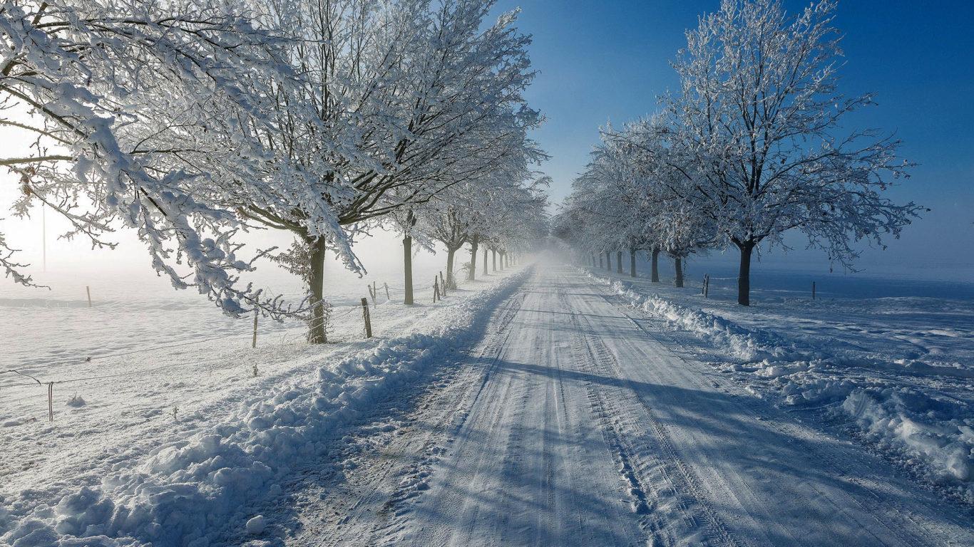зима, снег, дорога, hd