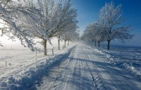 зима, снег, дорога, природа, солнце, hd обои