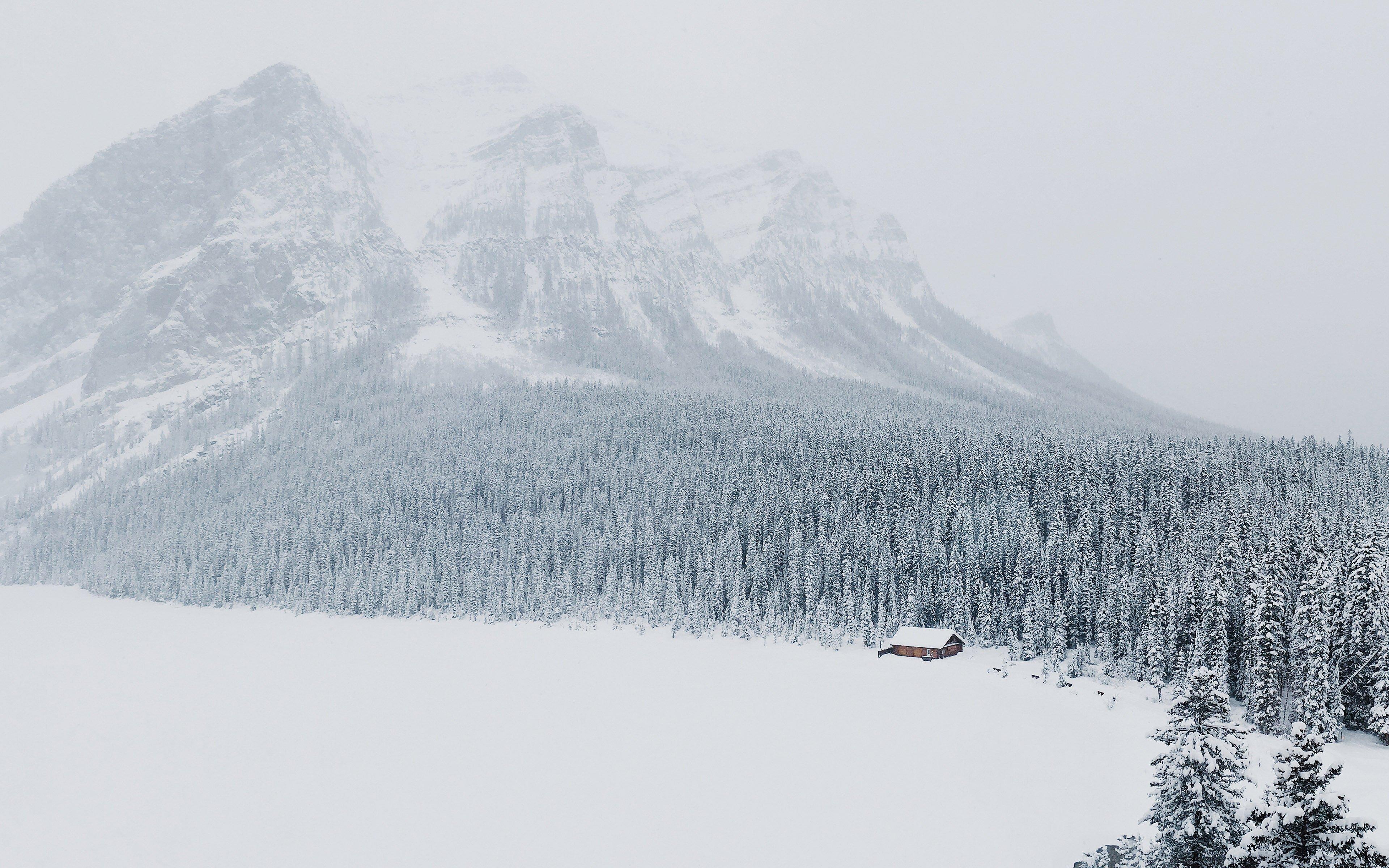 зима, снег, лег, гора, 4k ultra hd