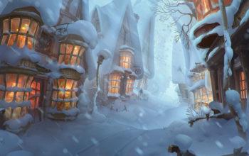 Новый год, арт обои, зима, снег, настроение, hd