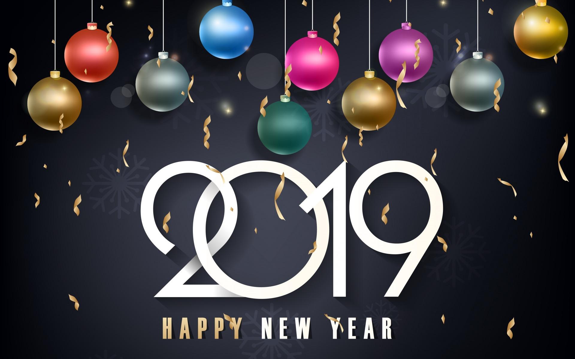 разноцветные шары, Новый Год 2019, Happy New Year, новогодние обои hd