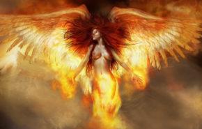 3d обои, огненный ангел, женщина, крылья