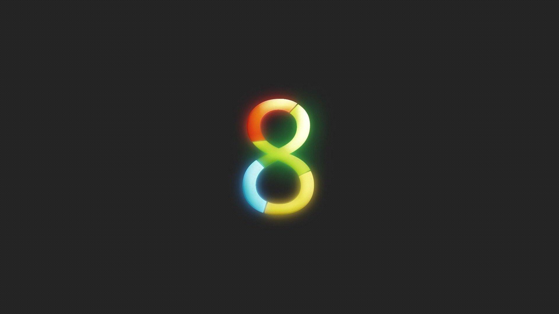 hd, Windows 8, логотип, восьмерка, серый фон