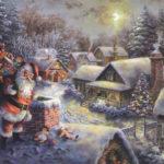 Санта Клаус на крыше дома