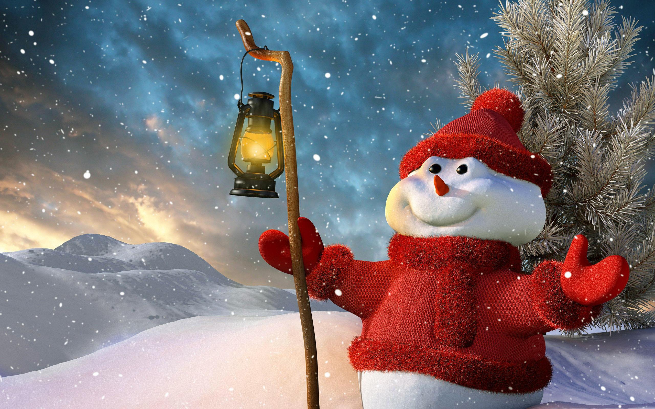 Новый год, снеговик, новогодние обои hd