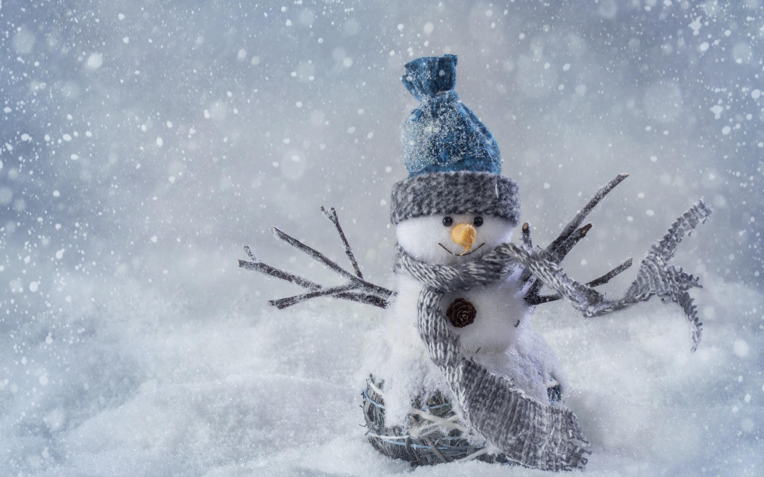 снеговик, зима, снег, hd обои