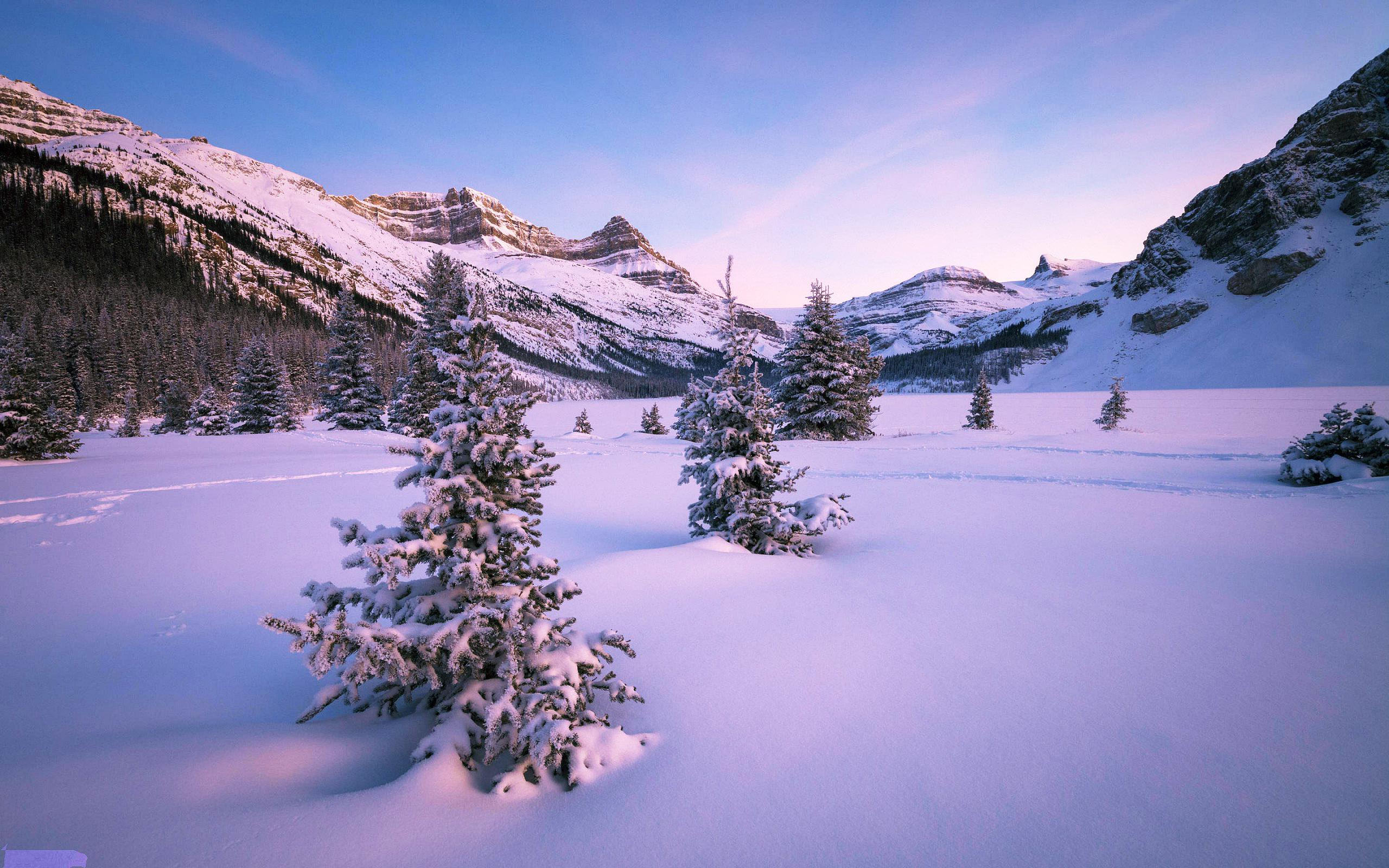 зима, снег, горы, долина, холод