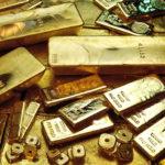 Золотые слитки разных размеров