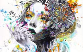 абстракция, живопись, девушка, краски, цветы